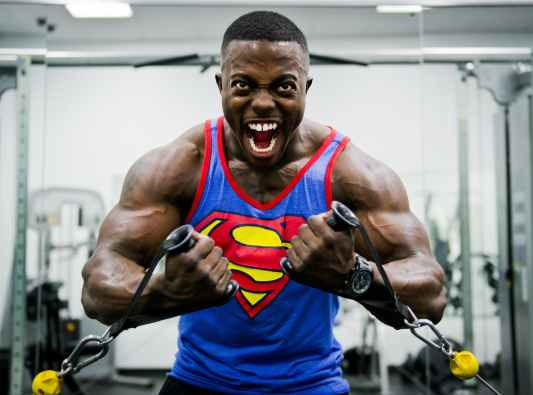 blue and red superman print tank top shirt